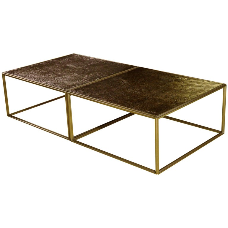 Brass Low Table, Hand Cast Polished Bronze Top, One of a kind by P. Tendercool For Sale