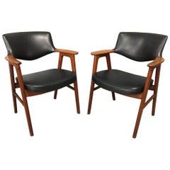 Set of 2 Teak and Black Faux Leather Armchairs by Erik Kierkegaard