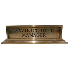 Vintage Heavy Bronze Savings Department Manager Desk Name Plate Sign, circa 1925