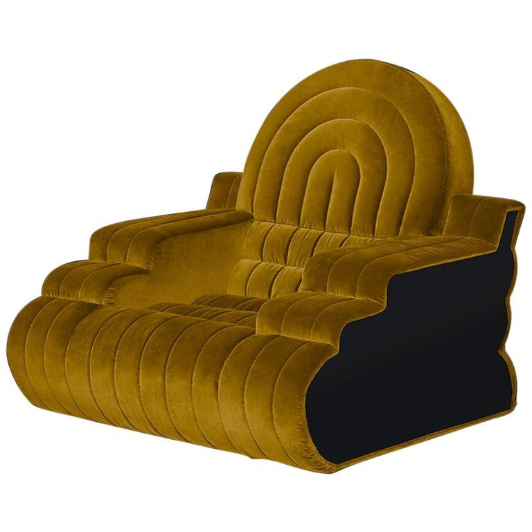 DISCO GUFRAM Stanley Armchair in Yellow by Atelier Biagetti For Sale