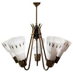 Midcentury Swedish Brass & Opaline Glass Ceiling Lamp