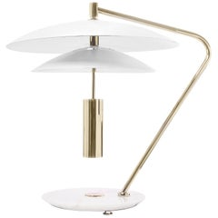 Delightfull Basie Table Light in Brass with Tiered White Shades