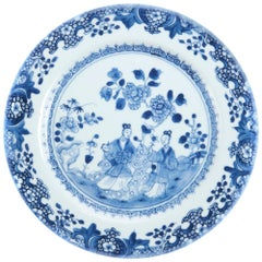18th Century Blue & White Chinese Plate