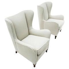 Italian Midcentury White Fabric Armchair, 1940s, Set of 2