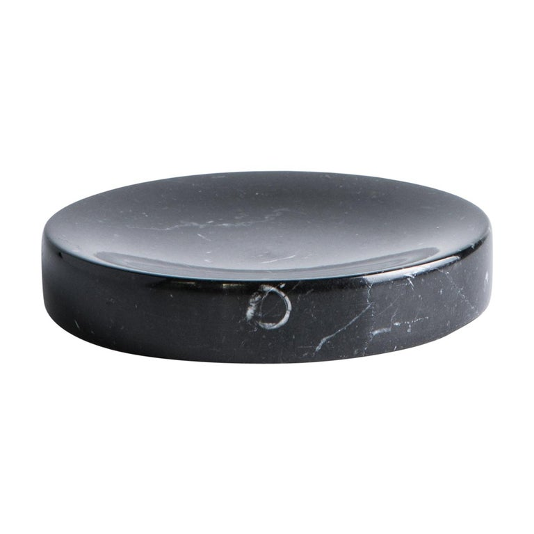 Soap Dish in Black Marquina Marble For Sale