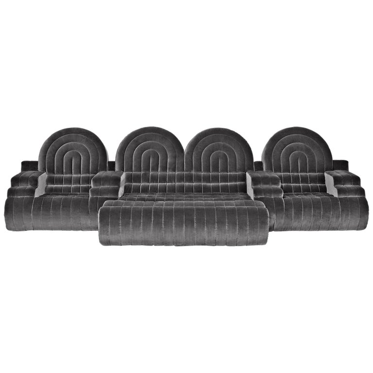 DISCO GUFRAM Stanley Sofa in Silver by Atelier Biagetti For Sale