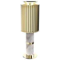 Delightfull Donna Table Light in Brass with White Marble Base