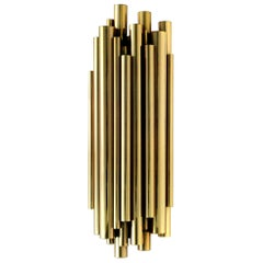 Brubeck Wall Light in Brass with Pipe Details