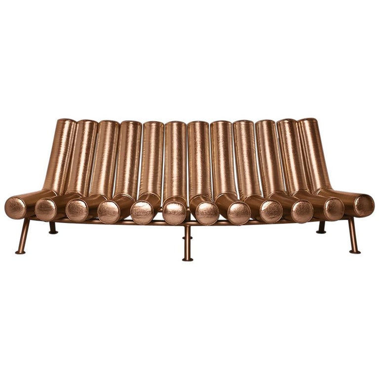 DISCO GUFRAM Jimmy Convex Sofa in Bronze by Atelier Biagetti For Sale