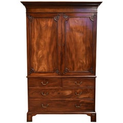 Elegant George III Mahogany Linen Press