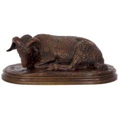 French Bronze Sculpture of Resting Ram, 'Bélier Couché' by Rosa Bonheur & Peyrol