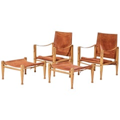 Kaare Klint Safari Chairs and Footstools, Rud Rasmussen, Denmark, 1960s