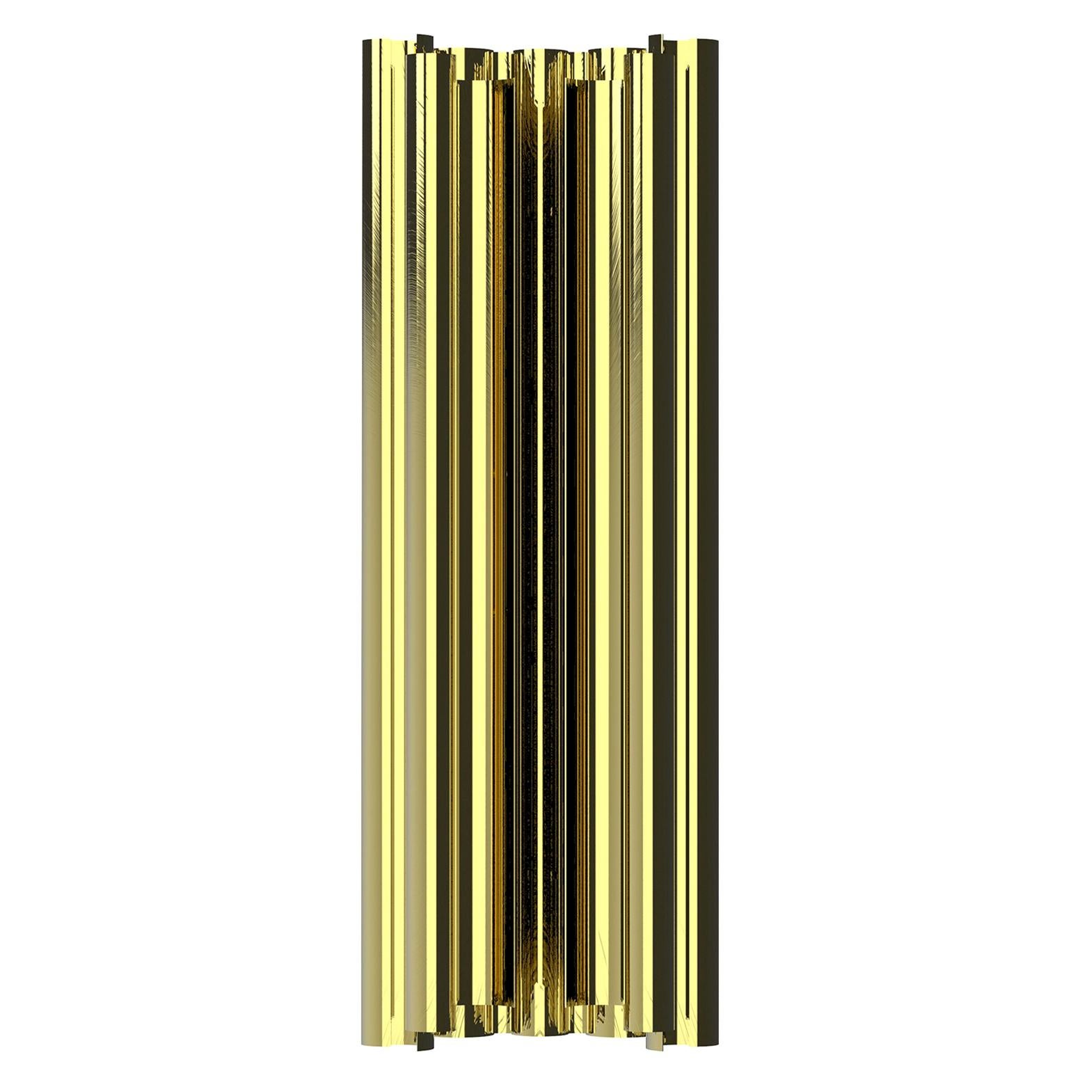 Parker Wall Light in Polished Brass with Ribbed Exterior