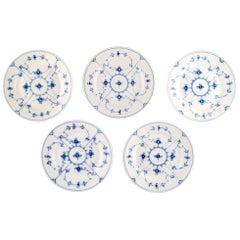 Set of 5 Royal Copenhagen Blue Fluted Lunch Plates