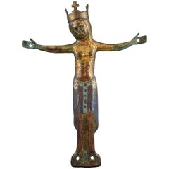 Crucified Christ 'Corpus Christi' Copper, Enamel, Jet Limoges, 12th-13th Century