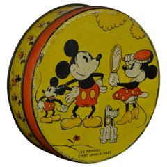 1930s  Walt Disney Tin with Mickey Mouse, Minnie Mouse and Pluto