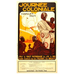 Original Vintage Journee Coloniale Poster Colonial Day Ft African Mother & Child