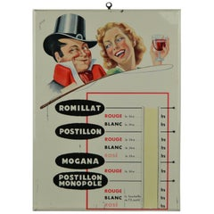 1950s Tin Advertising Sign for Wine