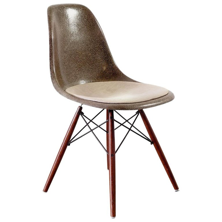 Original Brown Side Chair DSW Designed by Charles and Ray Eames For Sale