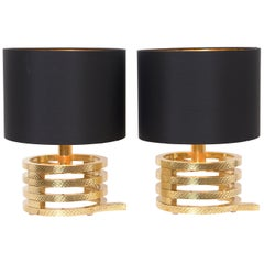 Pair of Italian Hammered Brass Table Lamps, circa 1960