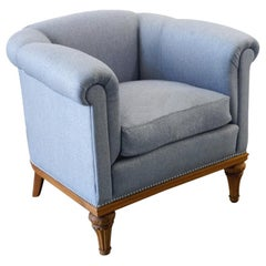 Upholstered Half-Round Armchair, Made in the 1940s
