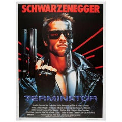 Large Original Vintage Sci-Fi Movie Poster for Terminator Arnold Schwarzenegger