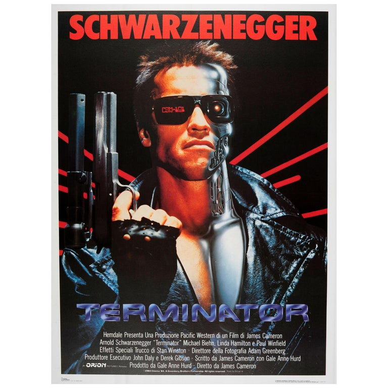 Large Original Vintage Sci-Fi Movie Poster for Terminator Arnold Schwarzenegger For Sale