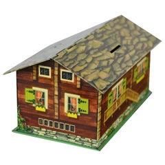 Suchard Swiss Chalet Tin, Piggy Bank, Chocolate Box, 1930s