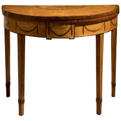George III Satinwood Demi-Lune Card Table
