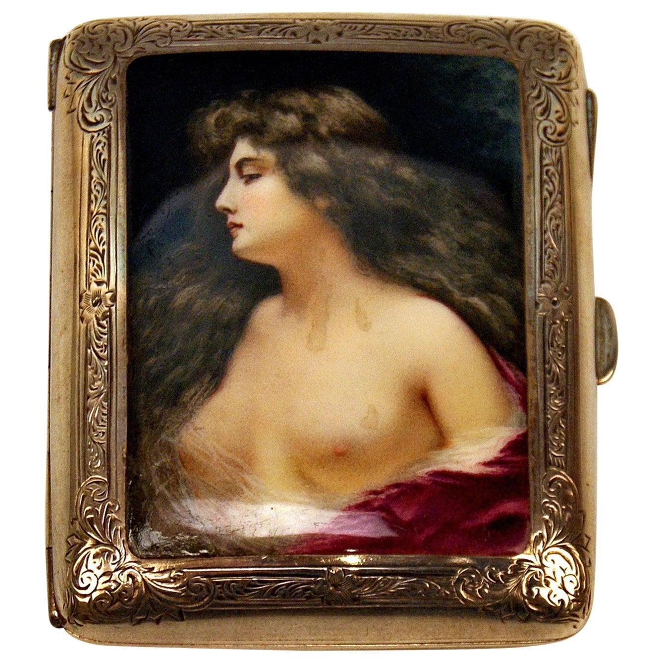Sterling Silver Erotica Cigarette Box Enamel Painting Lady Nude, Birmingham 1902