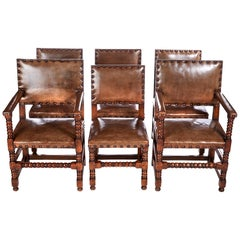 Quality Set of 6 Leather and Oak Dining Chairs