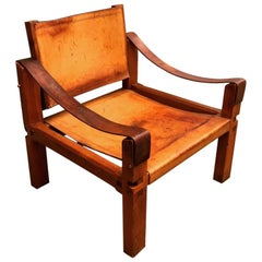 Pierre Chapo 's S10 Sahara Armchair in Cognac Patinated Leather, circa 1960