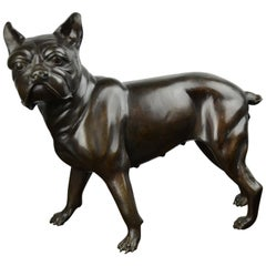 Life-Size Bronze French Bulldog, Boston Terrier Statue