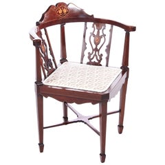 Antique Edwardian Inlaid Mahogany Corner Chair