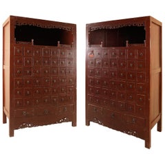Set of Two Oriental Apothecary Cabinets Wood, Metal Possibly China, 19th Century
