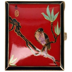 Sterling Silver 935 Cigarette Box Enamel Painting Bird on Sprig, circa 1930