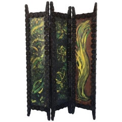 20th Century Arts & Crafts Folding Screen & Hand Painted Decoration Room Divider