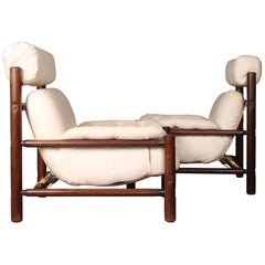 Pair of Wood and Faux Leather Armchairs