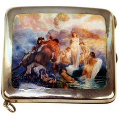 Silver 925 Cigarette Box Enamel Painting Luna and Centaur Possibly, Italy