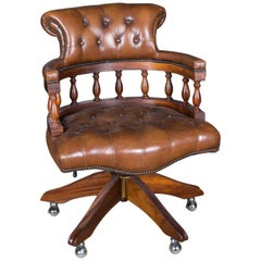 Exclusive English Chesterfield Office Armchair Bergére on Wheels