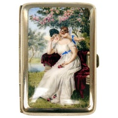 Silver 800 Cigarette Box Enamel Painting Lady with Cherub Germany, circa 1880