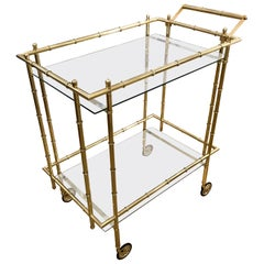 Faux Bamboo Brass Bar or Tea Cart in the Style of Baguès