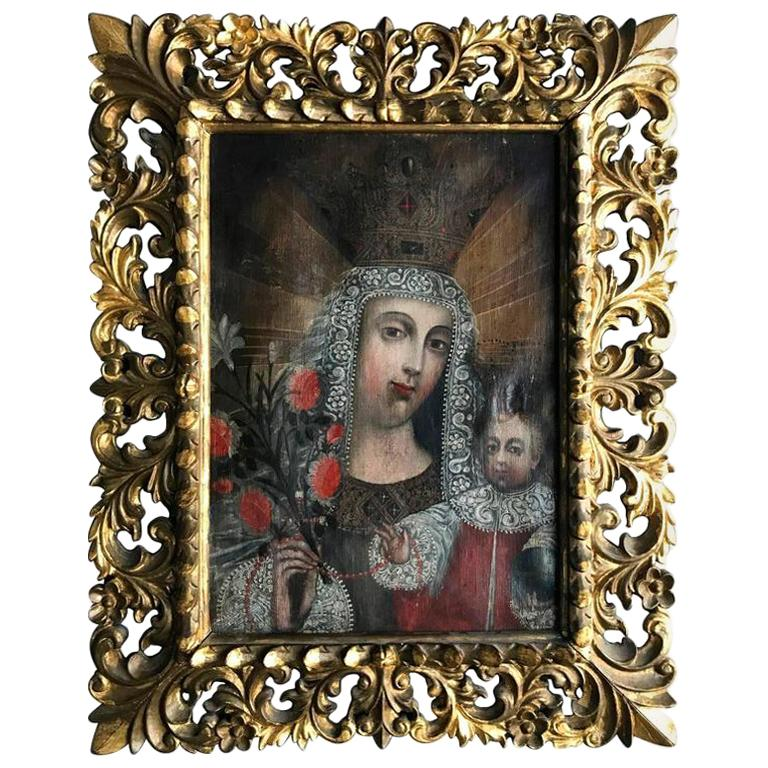 Framed Antique Spanish Colonial Painting Cuzco School For Sale
