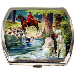 Silver 835 Erotica Cigarette Box Enamel Painted Bath of Lady Nudes, Germany 1900