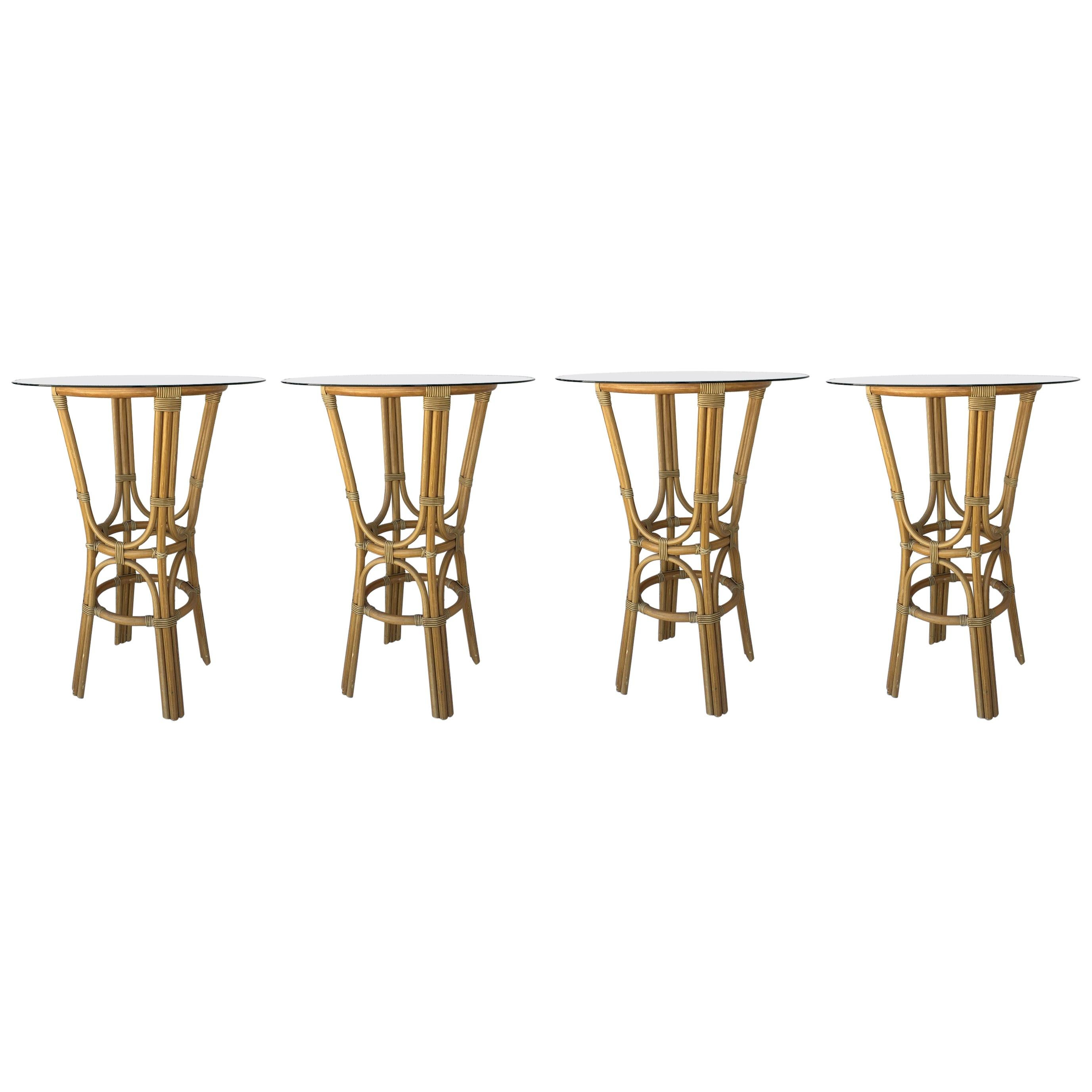 20th Century Set Of Four High Round Cocktail Table In Faux Bamboo With  Glass Top For