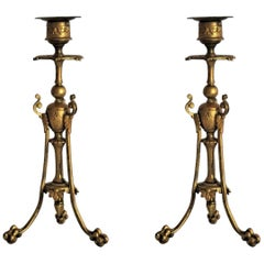 Mid-19th Century Pair of French Empire Style Gilt Bronze Candleholders