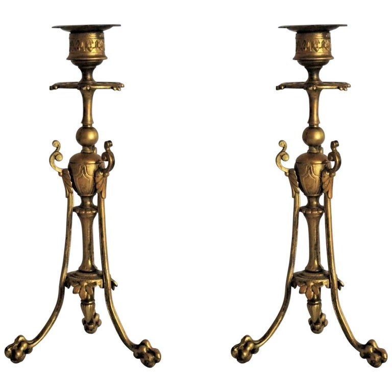 Mid-19th Century Pair of French Empire Style Gilt Bronze Candleholders For Sale