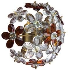 Crystal Floral Flush Mount, Italy, 1950s