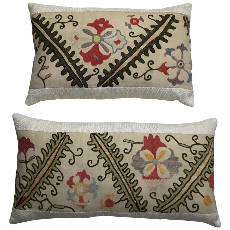 Pair of Antique Suzani Pillows For Sale