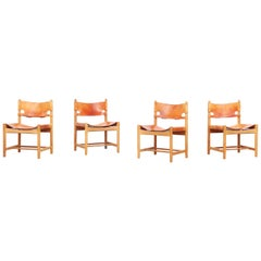 Set of Four Hunting Dining Chairs 3237 by Børge Mogensen for Fredericia Denmark